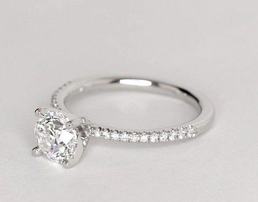 1 Carat Diamond Petite Micropavé Diamond Engagement Ring | Recently Purchased | Blue Nile