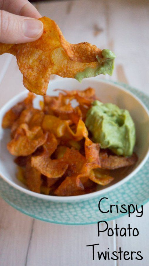 Crispy Potato Twisters with an Avocado Coriander Dip