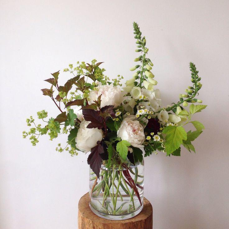 Peonies, Foxglove, Physocarpus Diabolo and Dart's Gold, Lady's Mantle, Feverfew