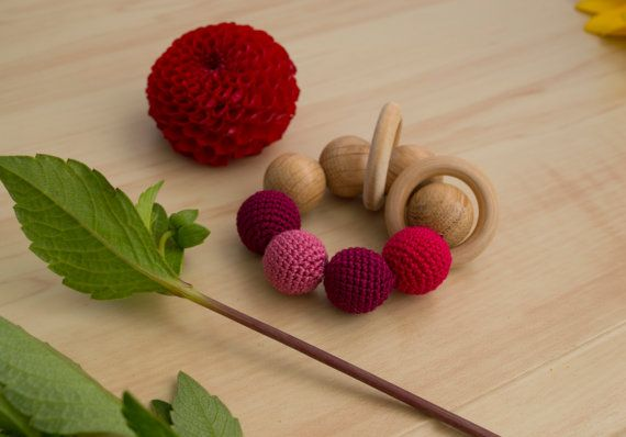Crochet Teething Ring in Cherry Colour  Wooden by MyFirstToy
