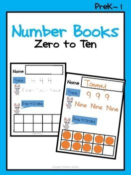 This no prep literacy pack is easy peasy for the teacher to print and fun for kids to do! Introduce zero and one and model in front of the class. Then have kids finish the other numbers during morning work or in a center throughout the week.I included a cover page if you are interested in making this into a packet.