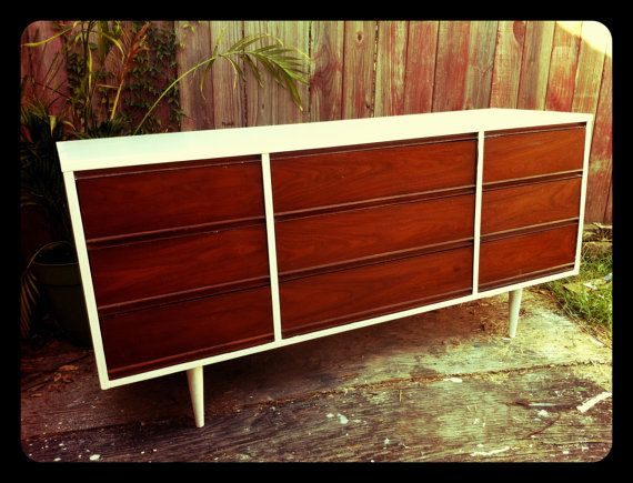 Refinished Mid-Modern Century Retro Dresser. The baby's dresser/changing table...now to refinish our Craig's List purchase to look like this!