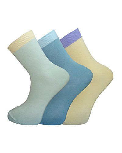 3 Pairs Pack Women's Bamboo Socks Contrast Cuffs Antibacterial Soft and Comfortable