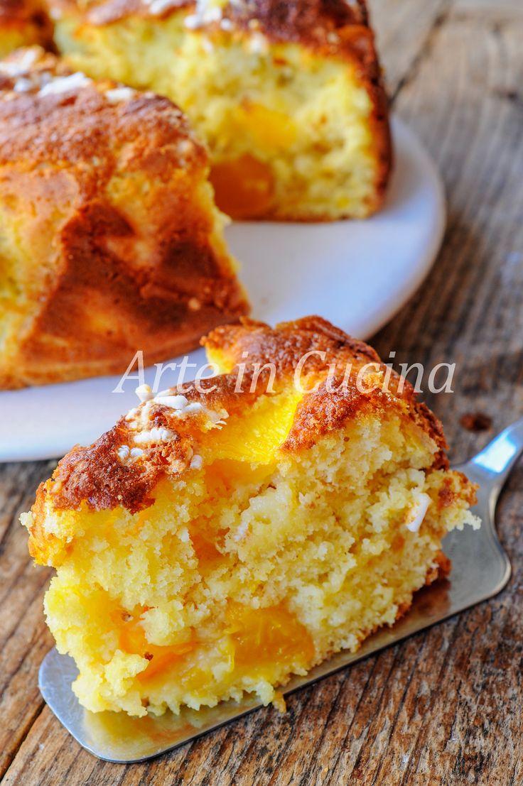 Torta 7 vasetti alle pesche frullate ricetta veloce e facile, senza grassi.