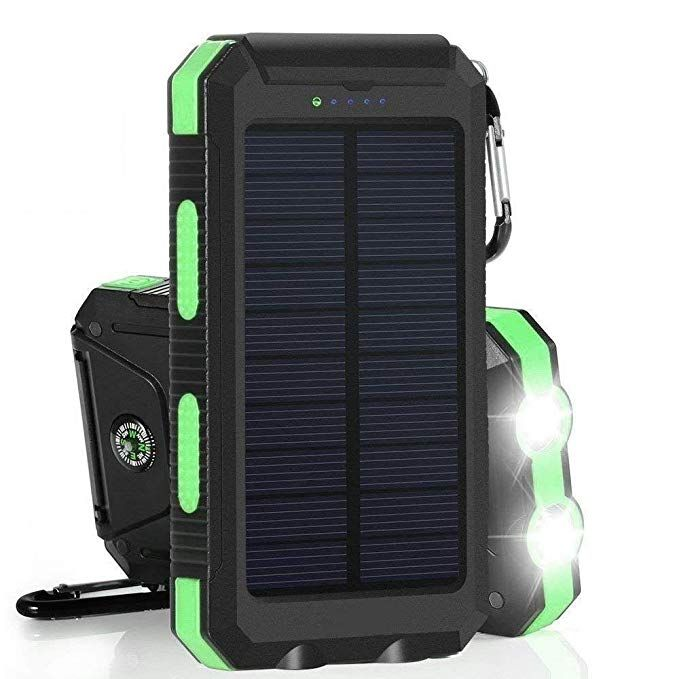 Green Solar Charger Power Bank Portable 20000mAh Solar Phone Charger Camping Travelling Emergency Power Bank with 6 Pcs LED Light and Dual USB Port
