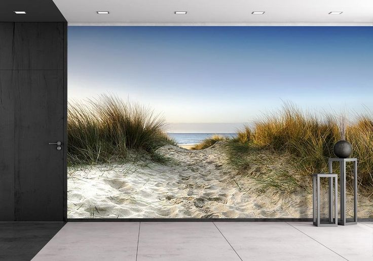 wall26 - Path Leading Thorugh Sand Dunes to the Beach at Sandbanks in Poole, Dorset - Removable Wall Mural | Self-adhesive Large Wallpaper - 100x144 inches