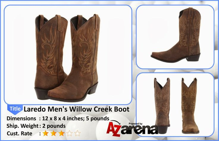 Laredo Men's Willow Creek Tan Crazyhorse Boot | Laredo is known for its popular prices, authentic Western styling and excellent fit in men, women and children's boots. Every boot in the Laredo line offers excellent quality and style at an affordable price. They cover the style spectrum from ropers to classic Western to buckaroo styles, always keeping you in mind.