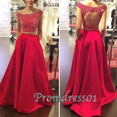 2016 unique design red satin two pieces prom dress, ball gown, evening dress