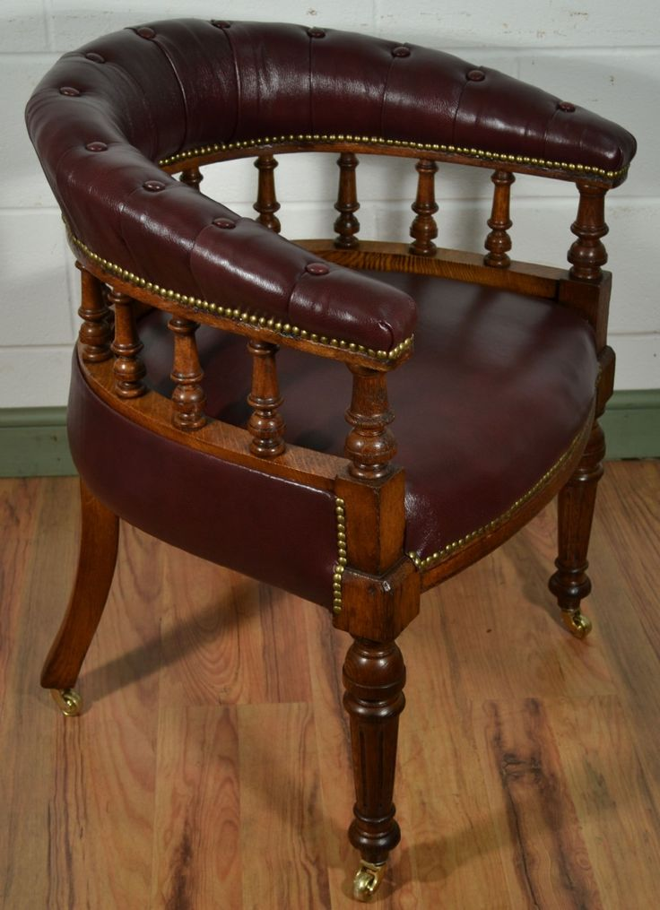 "Revolving Desk Chair Ergonomic Miller Victorian Oak Captains With Antique Burgundy Leather Upholstery C.1880 32"" High Back, 24 ..."