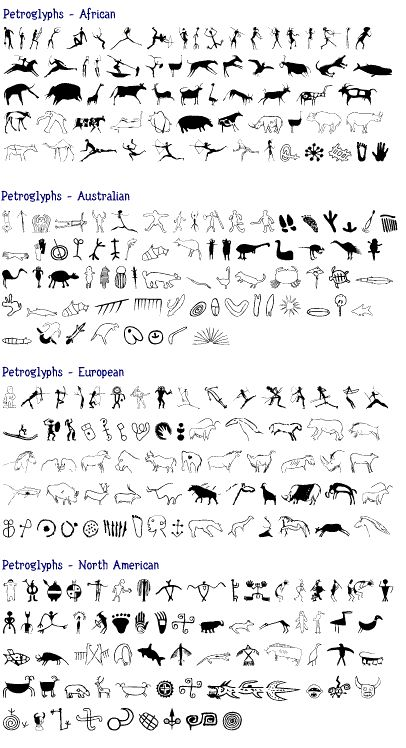 Stone Age Art ~ Amazing page comparing Petroglyph and Pictographs styles found on different continents. While I don't romanticize such things, it struck me strongly when looking at World Heritage Sites that human beings in so many different parts of the world painted, carved, or in some way inscribed their humanity onto the walls of the earth.
