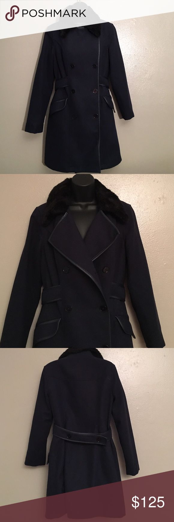 French connection navy blue coat Preowned , very good condition. Double buttons, artificial fur collar French Connection Jackets & Coats