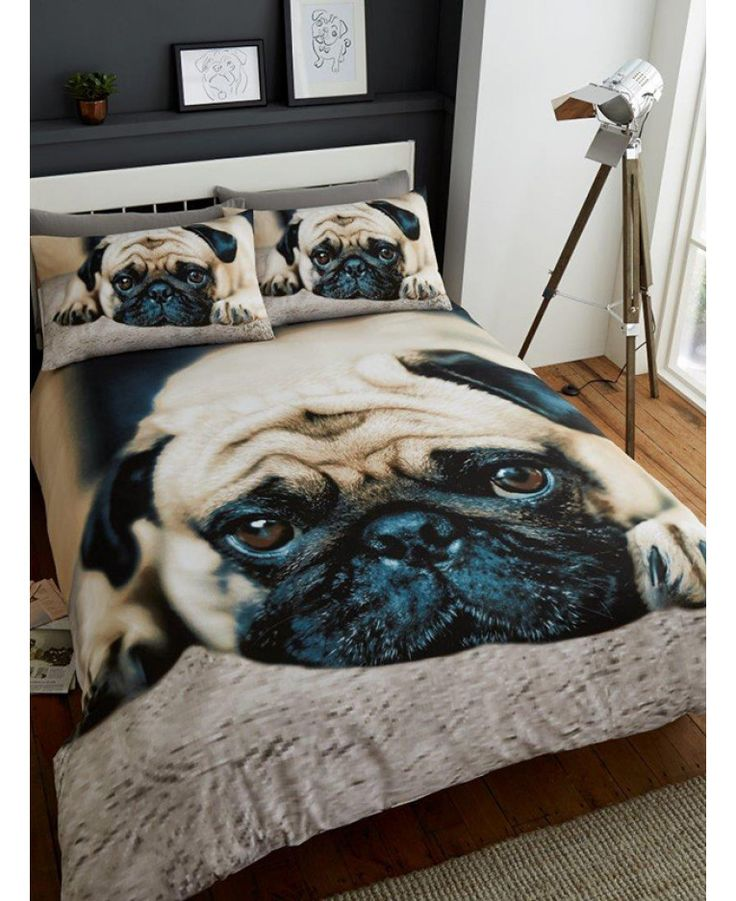 This Sweet Pug King Size Duvet Cover and Pillowcase Set features a gorgeous photographic image of an adorable pug. Free UK delivery available