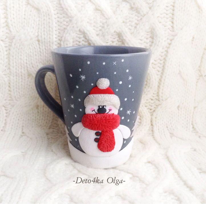 Купить Кружка Снеговичок - комбинированный, серый, красный, белый, кружка, чашка, снеговик, новый год 2016