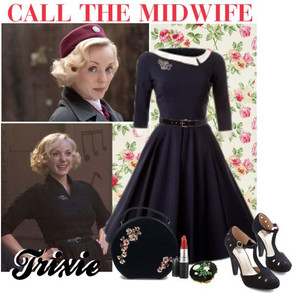 call the midwife - trixie by retrorose on Polyvore featuring mode, Vintage, Prada and SANDERSON