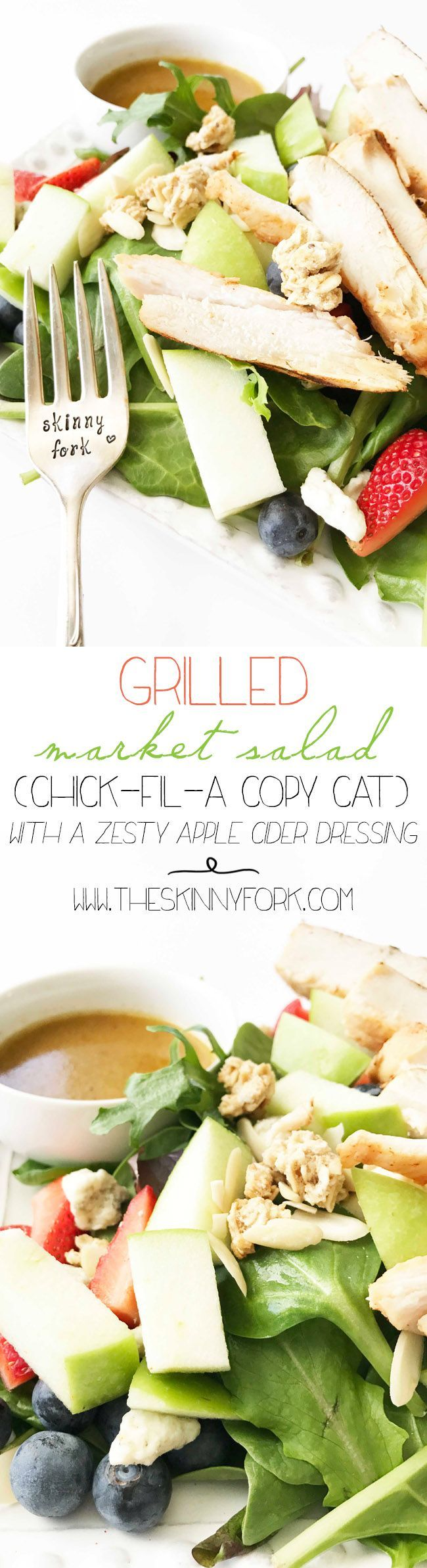 I'm in LOVE with this Grilled Market Salad & Zesty Dressing! It's one of my all time favorites.  It's a Chick-Fil-A Copy Cat. In other words it's take-out fake-out time. Make this salad ahead for a week full of prepared grab-n-go lunches! TheSkinnyFork.com | Skinny & Healthy Recipes