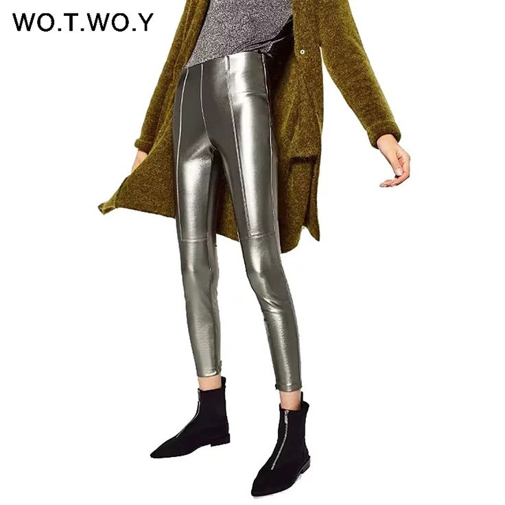 WOTWOY High Quality Tight Leather Pants Women Autumn PU Leather Trousers Side Zippers 2017 Silver Black Pencil Pants High Waist  Price: 16.61 USD
