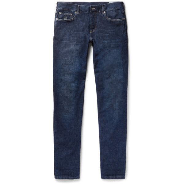 Brunello Cucinelli Slim-Fit Denim Jeans (78305 RSD) ❤ liked on Polyvore featuring men's fashion, men's clothing, men's jeans, mens flap pocket jeans, mens blue jeans, mens slim fit jeans, mens slim cut jeans and mens slim jeans