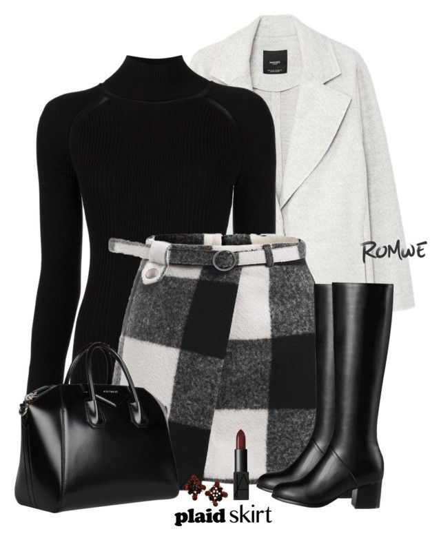 """""""Covered Asymmetric Front Floor Skirt"""" by nezahat-kaya ❤ liked on Polyvore featuring MANGO, Misha Nonoo, Givenchy, plaid, polyvoreeditorial and Superb"""