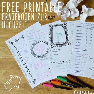 Hochzeit Gästebuch Fragebögen Free Printable Freebie