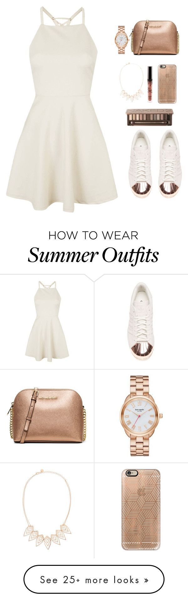 """Rose gold and white summer outfit"" by emmeleialouca on Polyvore featuring Topshop, adidas, MICHAEL Michael Kors, Casetify, Jules Smith, Urban Decay and Kate Spade"