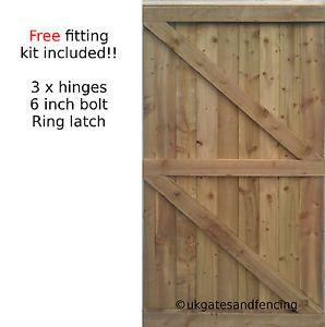 7FT HIGH Wooden Garden Side Gate Featheredge Gate  Wooden Gate Heavy Duty
