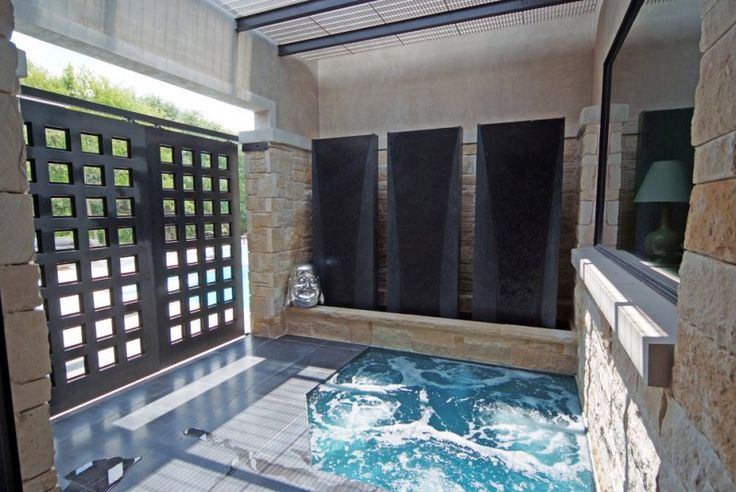asian built in ground hot tub with black metal fence of Marking Your Private Space, Enjoying Your Time in Hot Tub