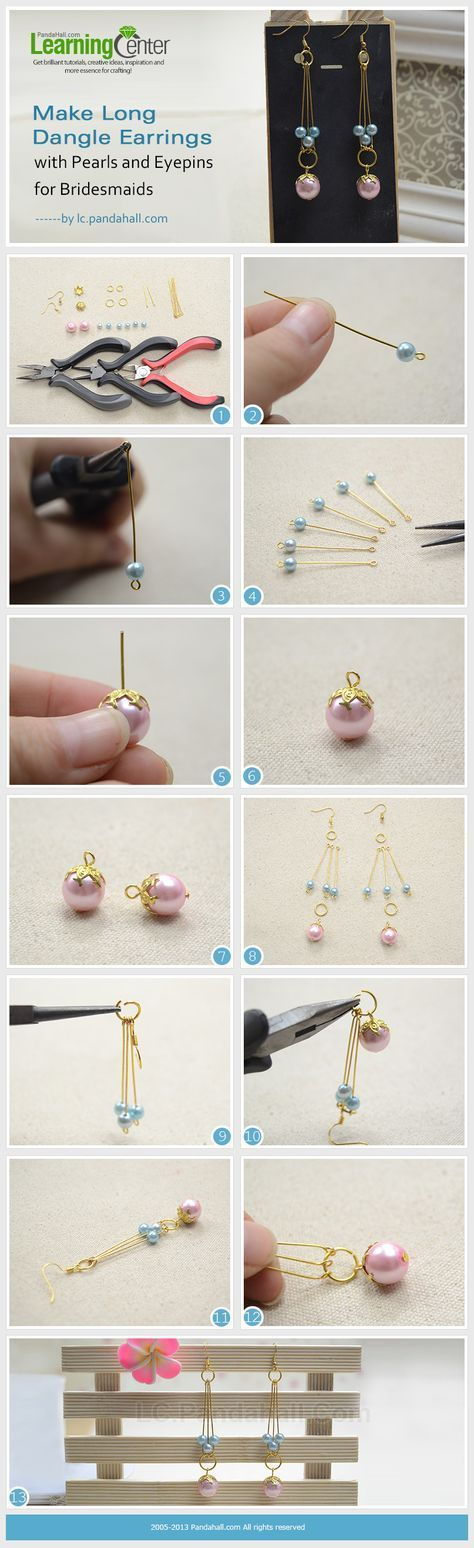 Make Long Dangle Earrings with Pearls and Eyepins for Bridesmaids