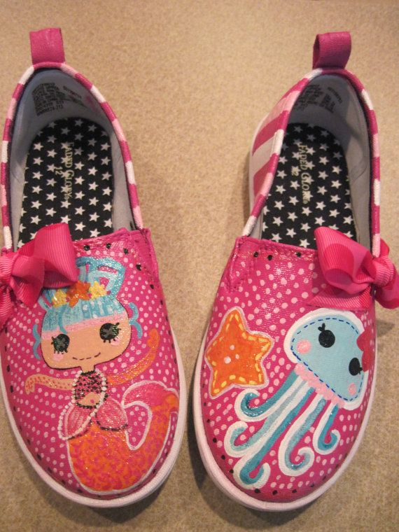 Custom Hand Painted Shoes Inspired by Lalaloopsy by BunnyToes1998, $40.00