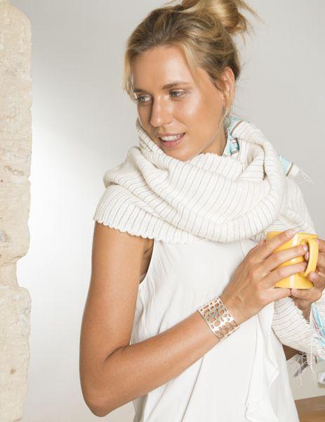 Bracelet-manchette Dana Esteline en cuir, réversible  Fermoir magnétique