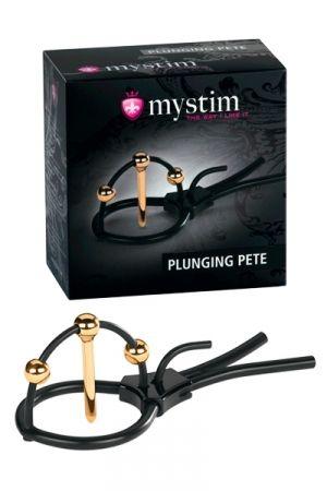 """Contenu de la boite: - 1 boucle Mystim """"Plunging Pete"""" pour pénis avec 1 dilatateur doré de 24 carats et 3 boules dorées - 1 câble d'électrode pour appareils de stimulation électrique Mystim - 1 mode d'emploi - 1 élégant coffret de rangement en métal Caractéristiques: - Boucle de pénis réglable électro-sexe - Plaisir masculin / stimulation électrique - Dilatateur : diamètre 4 mm,  longueur 35 mm - Matière: 100% de silicone platine médicale - Hypoallergénique, sans phtalate, nettoyage facile"""