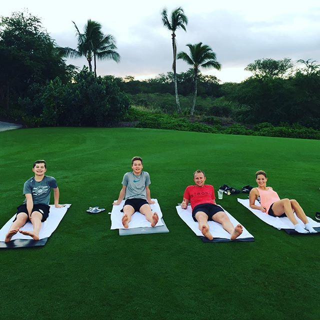 """Pin for Later: Candace Cameron Bure's Sweet Family Snaps Couldn't Be Cuter  Candace: """"Happy New Year! 2016 morning stretch."""""""