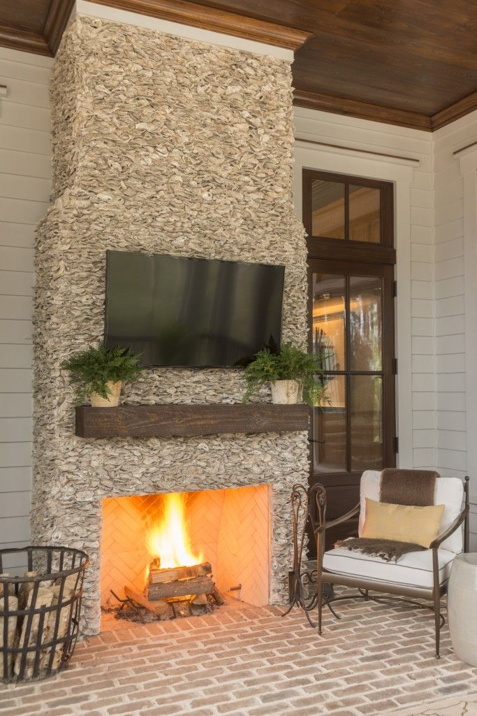 Gorgeous natural stone outdoor fireplace with brick patio ...