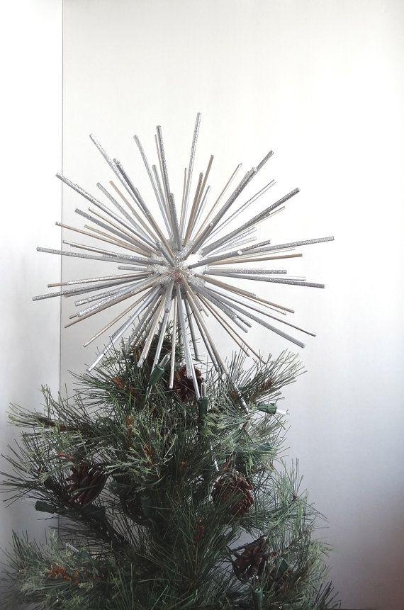 Retro Christmas Tree Topper Star Silver Wood By Sewbr0ke On Etsy