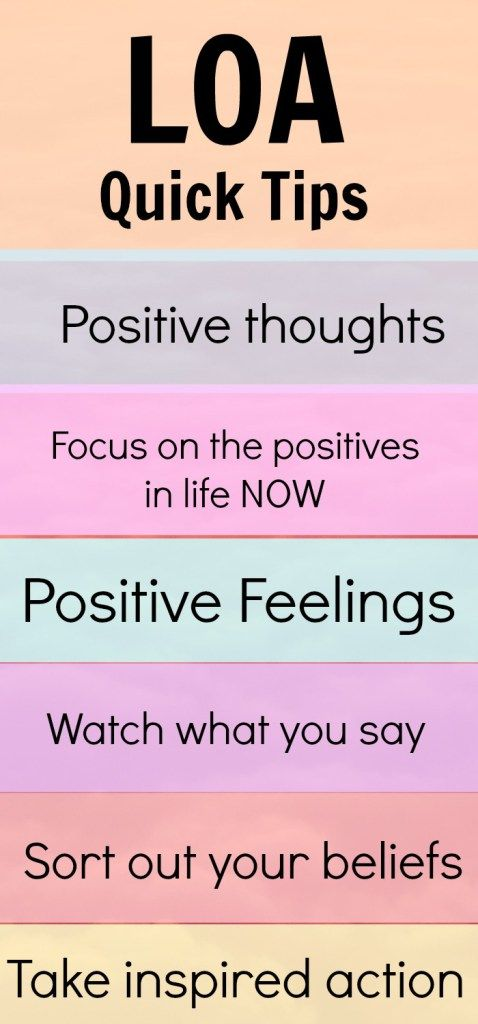 Law of attraction quick tips.  A few ideas to quickly get the law of attraction working FOR you to attract the life you want. LOA Tips