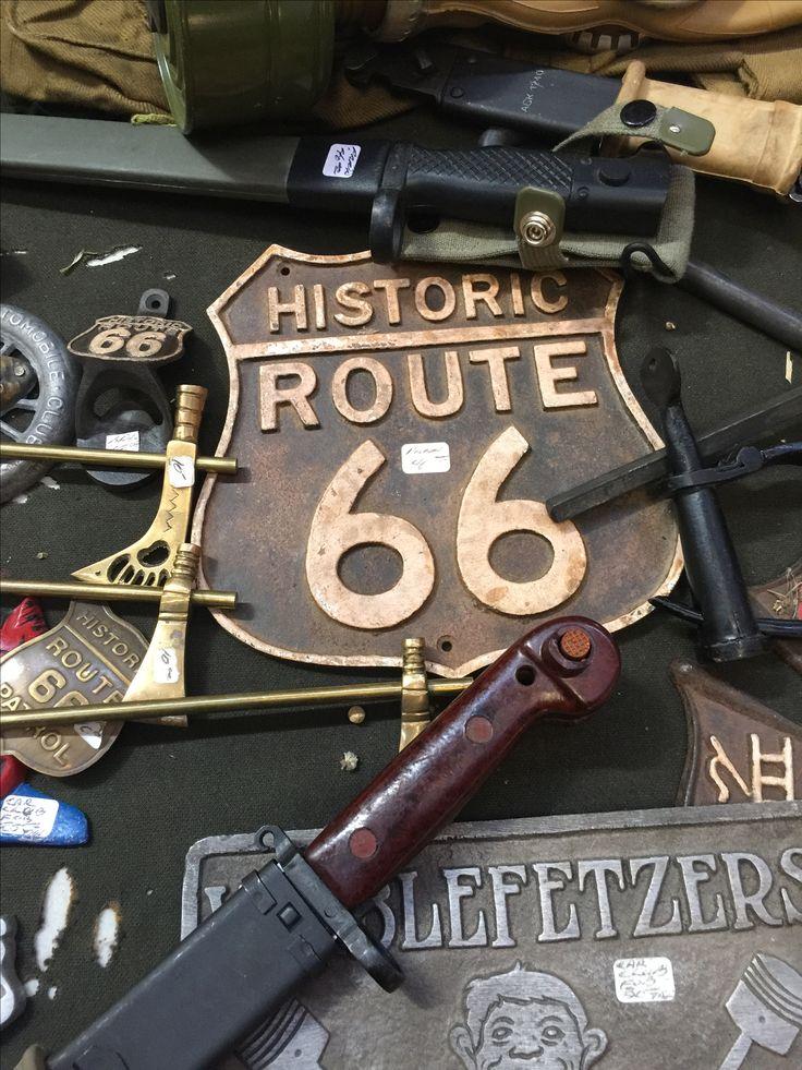 Route 66 metal sign at Grafton Flea Market