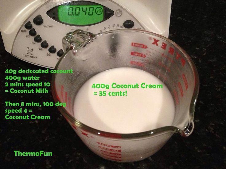 Coconut cream and coconut milk in the Thermomix