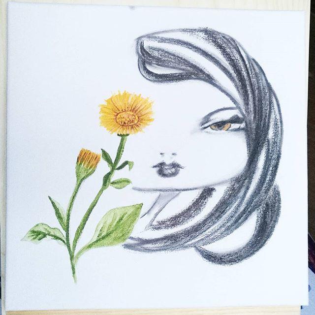Now in #nemi and it can be yours!  #artinthebox #artecontemporanea #artistoninstagram #kunst #konst #galerie #art #yellow #christmaspresent  #winterflowers #igerslazio #castelliromani #roma #canvas #charcoal #acryliconcanvas #flowers #igdaily #målning #calendula #xmas #artinarte