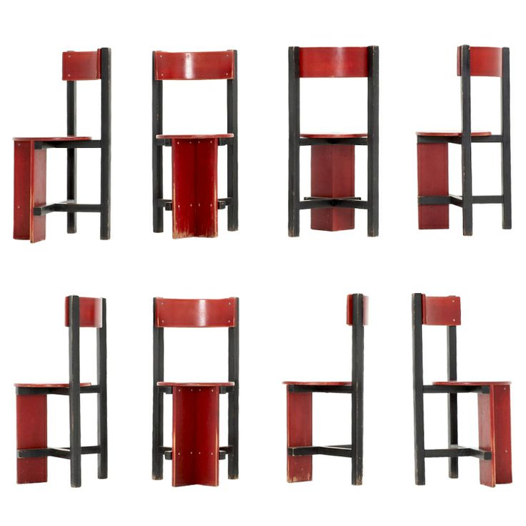 Extremely rare set of 8 'Bastille' Chairs by Dutch architect Piet Blom c1968