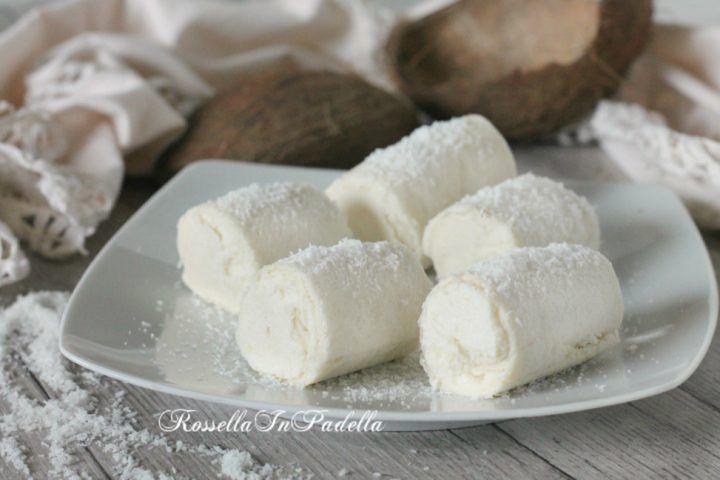 Rotolini al cocco, ricetta veloce senza cottura   ♥
