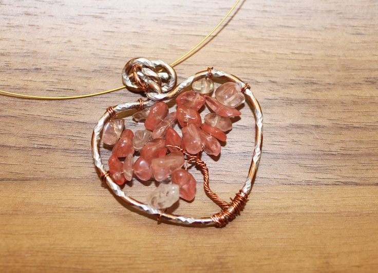 Wire tree in a heart, with quartz chips
