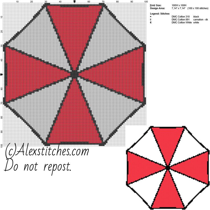 Umbrella Corporation logo Resident Evil free cross stitch pattern videogames 100x100 3 colors