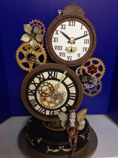 Steampunk Clock Cake By Cakesue on CakeCentral.com (the little fairy is too cute!)