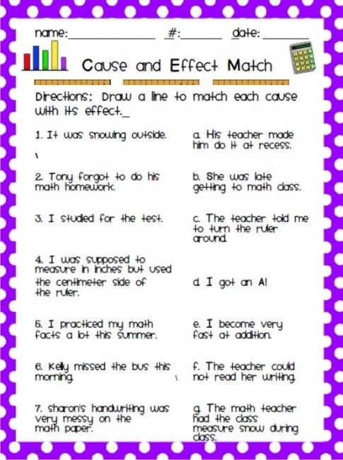 Teach Junkie: 12 Easy Cause and Effect Activities and Worksheets - Cause and Effect Matching Worksheet