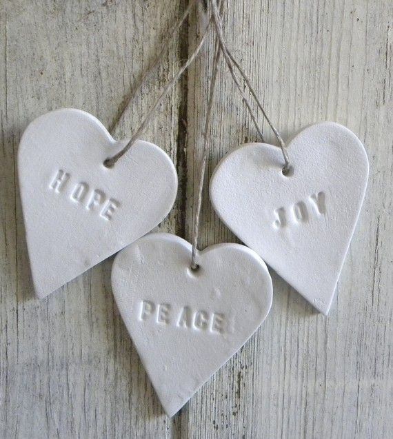 Peace, Joy and Hope set of 3 white clay Christmas tree decorations via Etsy