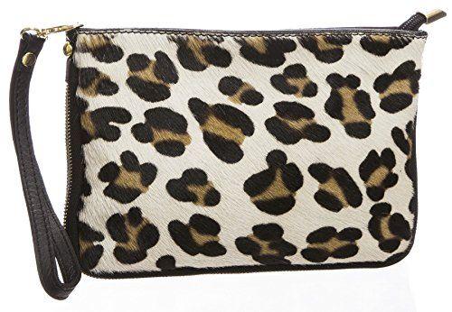 BHBS Damen Weiche Leder Clutch Hochzeit Handtasche Handtasche 20.5 x 15 x 3 cm (B x H x T) - S Big Leopard