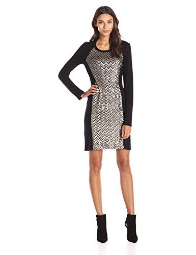Karen Kane Womens Chevron Sequin Front Dress Multi Medium *** You can find out more details at the link of the image.