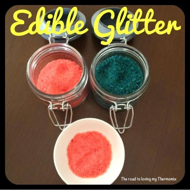 Edible Glitter - Ok so it isn't glitter as such but these are a great cheap sprinkle alternative for cupcakes! These are so expensive in the shop. I noticed a small tube was close to $5 yesterday so decided to make my own. Too easy! I'm sure this would work with other healthier sugar varieties.