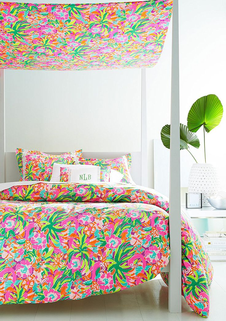 Fun, retro-inspired Lilly Pulitzer prints (like new Lulu) make it easy to add color in your bedroom.