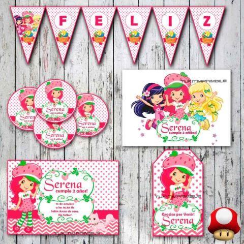 Kit Frutillitas Invitaciones, Stickers, Banderín Tarjetitas