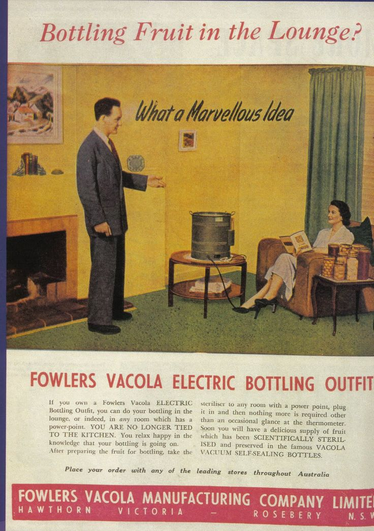 1950's Domestic Illustrations § Fowlers Vacola Maufacturing Company, Australia | Electric Bottling Outfit